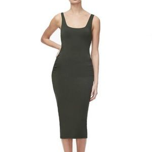 Square Necked Rouched Dress OLIVE